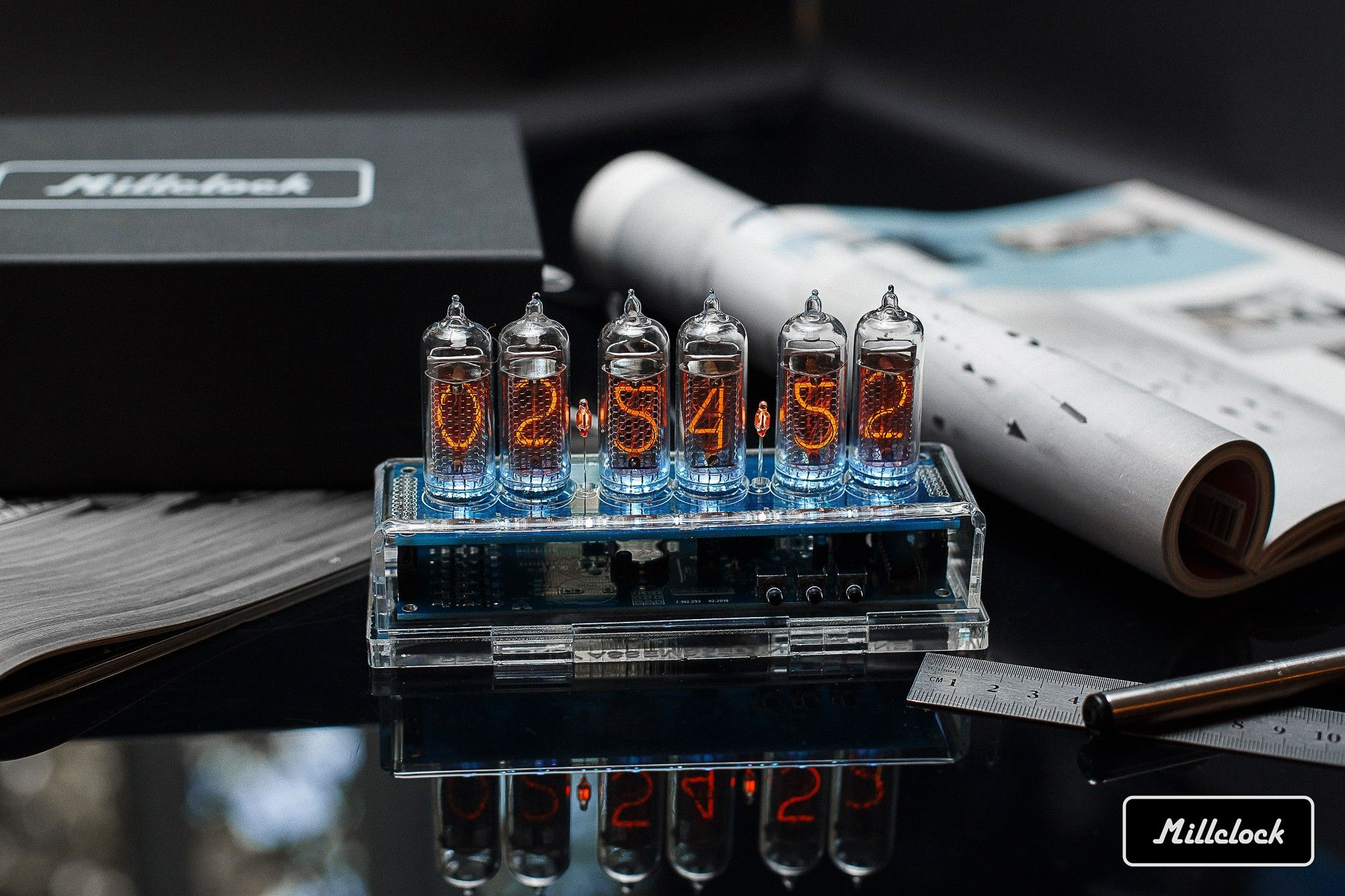 IN-14 NIXIE TUBE CLOCK ASSEMBLED ACRYLIC ENCLOSURE  ADAPTER 6-tubes by MILLCLOCK