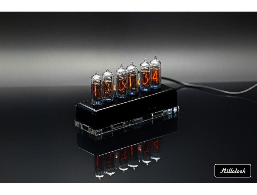 Nixie clock - in-14 nixie tube clock assembled black acrylic enclosure adapter 6-tubes