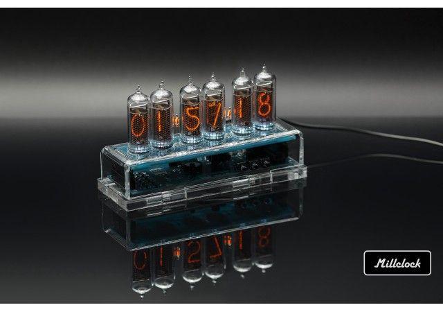 Uhren - MILLCLOCK Gasentladungsuhr, transparentes Acrylgehäuse mit Adapter, 6 Kolben