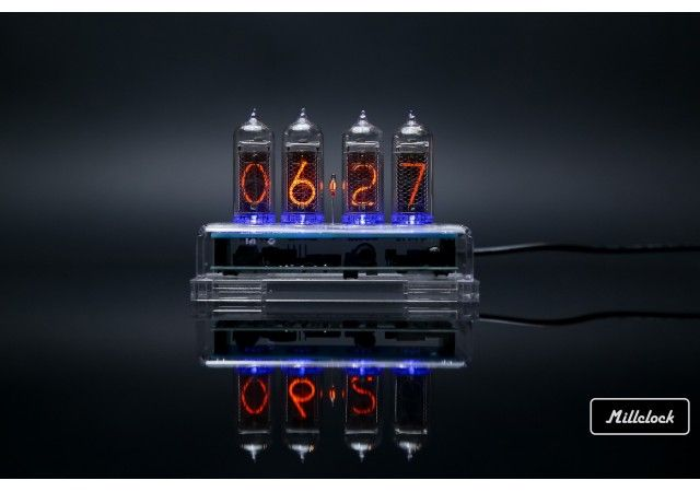 Nixie clock - IN-14 Nixie tube clock assembled with enclosure and adapter 4-tubes