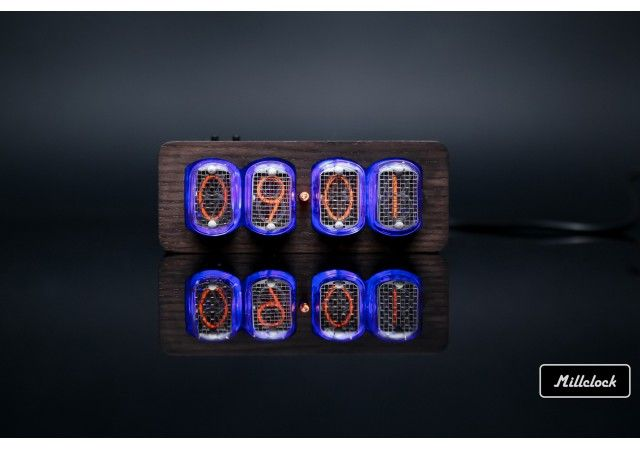 Nixie clock - in-12 nixie tube clock assembled wood enclosure and adapter 4-tubes