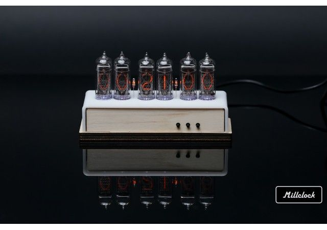 Nixie clock - in-14 nixie tube clock assembled wood enclosure and adapter 6-tubes