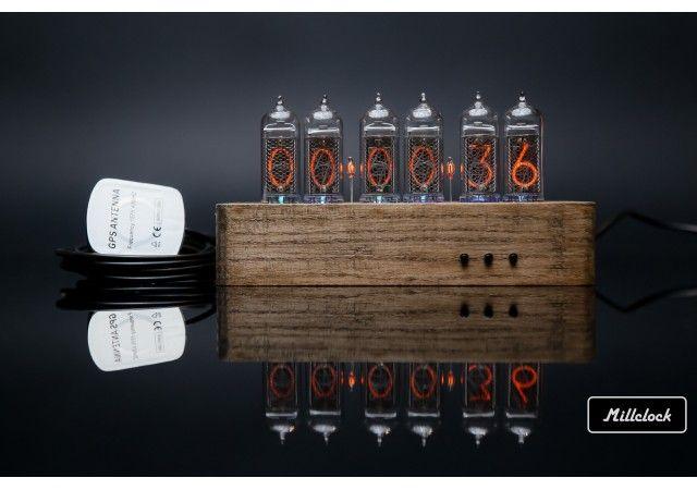 Nixie clock - in-14 nixie tube clock wood enclosure gps alarm and adapter 6-tubes
