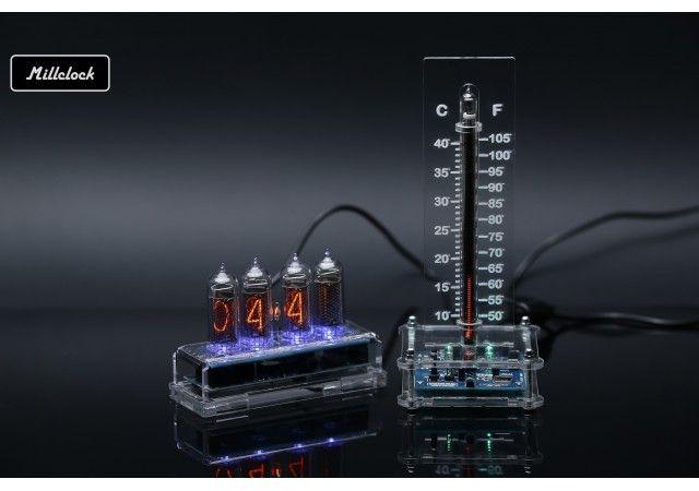Uhren - Set mit IN-14 Nixie Uhr und IN-13 Nixie Rohr Thermometer vollständig montiert
