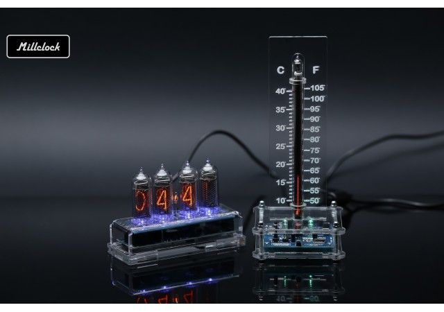 Nixie clock - set of the in-14 nixie clock and in-13 nixie tube thermometer fully assembled