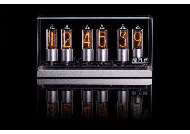 ZIN-18 nixie clock in silver aluminium case