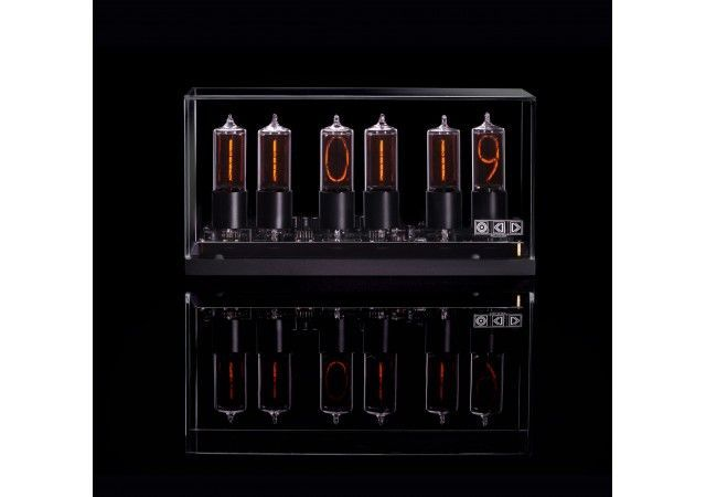 Catalog - ZIN-18 nixie clock in black aluminium case