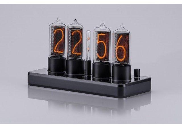 Zin18 Clocks - NEW! ZIN18 Nixie Clock Black Aluminium Case 4 Tubes Skeleton Design