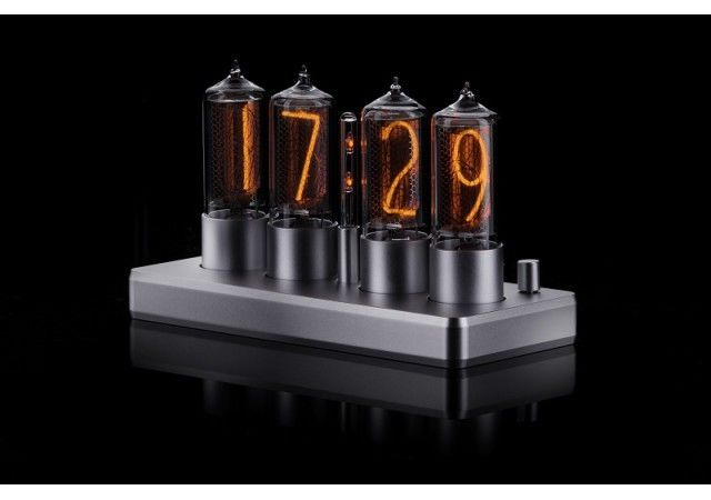 Zin18 Clocks - NEW! ZIN18 Nixie Clock Silver Rounded Aluminium Case 4 Tubes