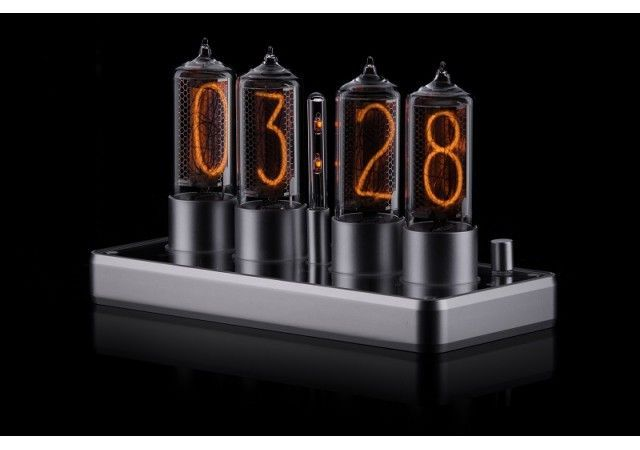 Zin18 Clocks - NEW! ZIN18 Nixie Clock Silver Aluminium Case 4 Tubes Skeleton Design